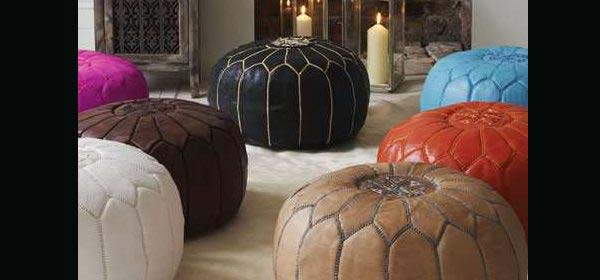 Moroccan pouf ottoman, 100% hand embroidered