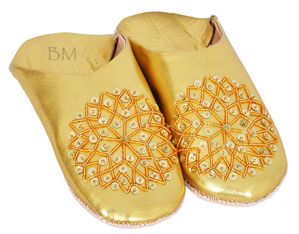 babouche-paillette-doree moroccan slippers sequins for woman
