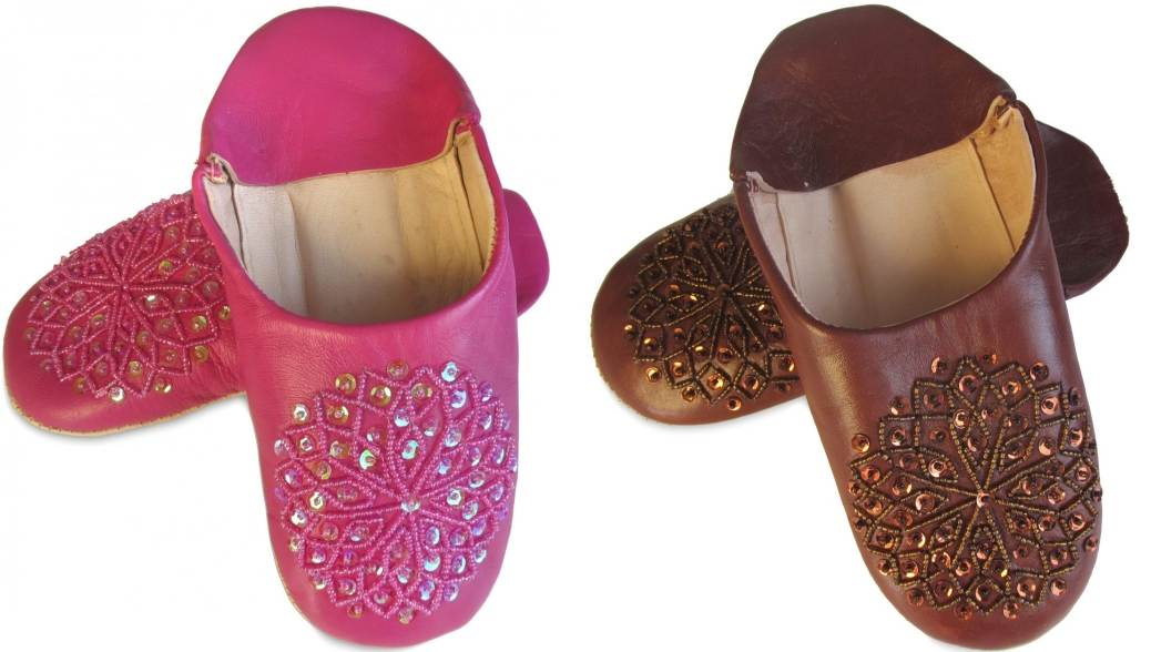 babouche-paillette-fuchia-marron moroccan slippers sequins for woman