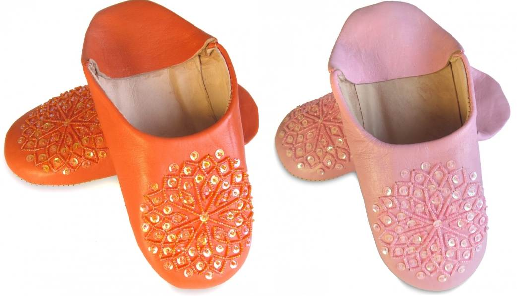 babouche-paillette-orange-rose moroccan slippers sequins for woman