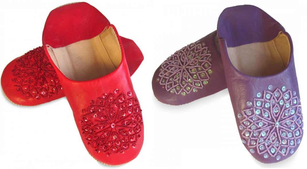 babouche-paillette-rouge-lavande moroccan slippers sequins for woman
