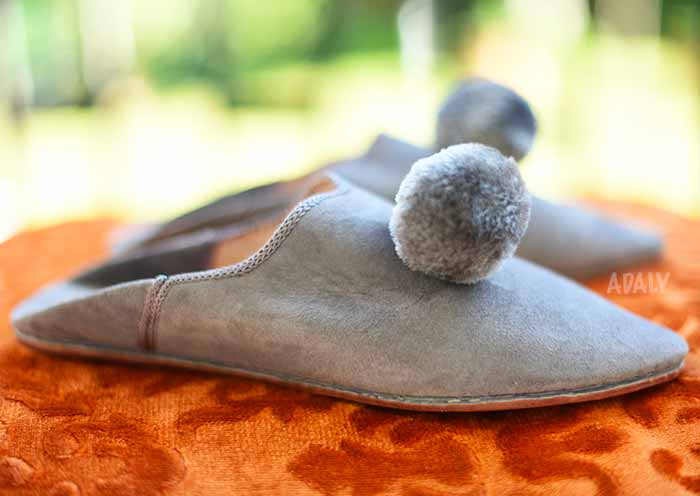 Suede Pompon Slippers