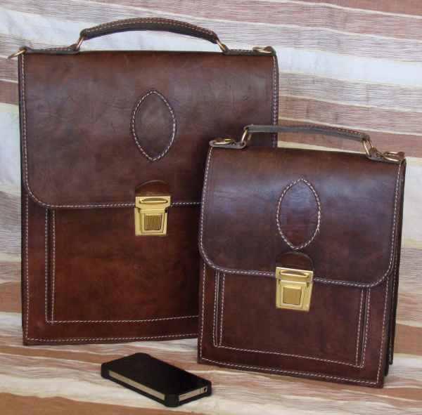 Long leather satchel