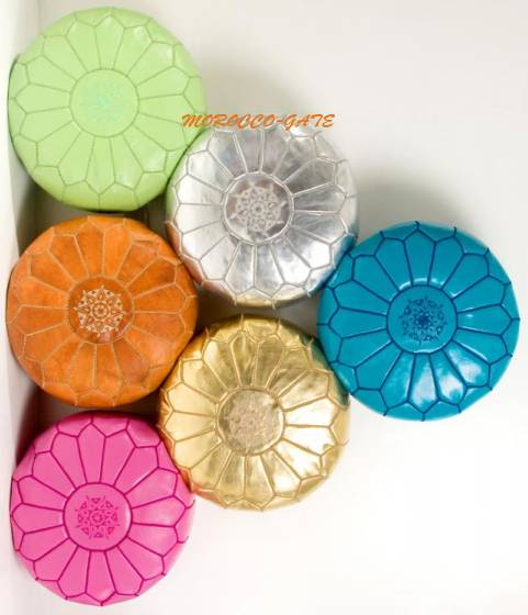Set of 6 Moroccan poufs