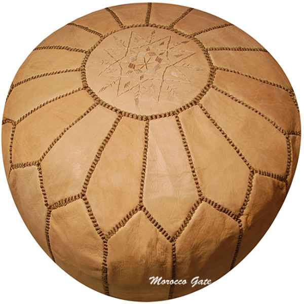 Moroccan ottoman natural leather