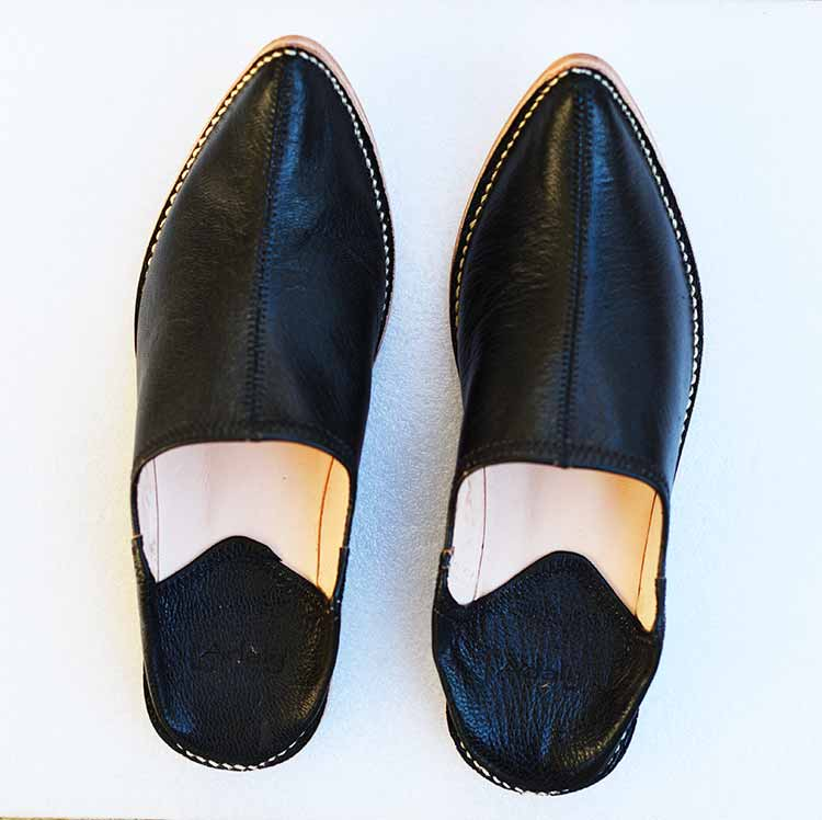 moroccan-slippers-assala-black-2019 Babouches assala en cuir type aladin babouche pointue
