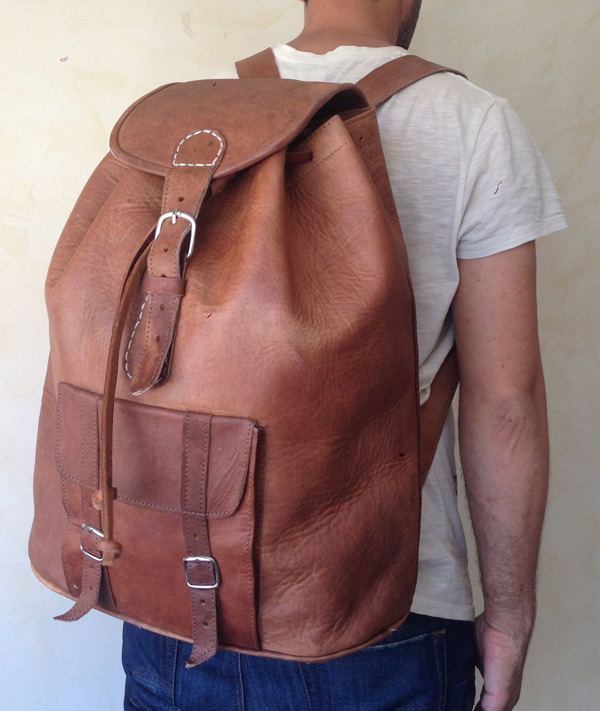 sac-a-dos-geant very large Moroccan genuine leather backpack