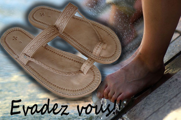 sandales-marocaine-playa-homme-naturel-Beach flip flops Man