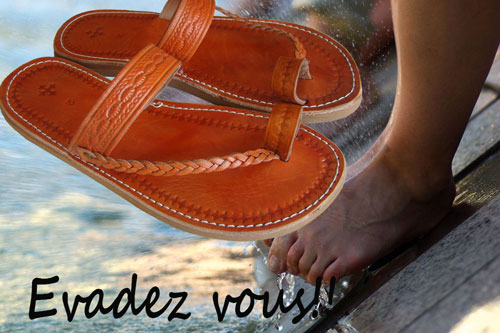 sandales-marocaine-playa-homme-orange-Tongs la Plage Homme