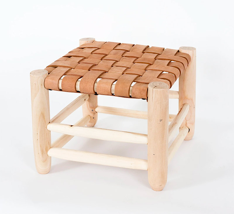 tabourets-bois-cuir-small-Wood and Leather Stool