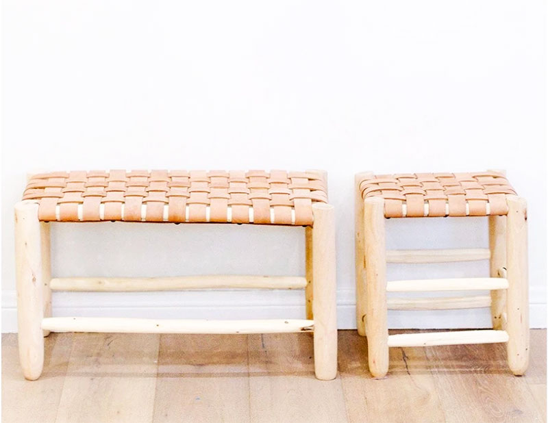 Natural Wood and Leather Bench